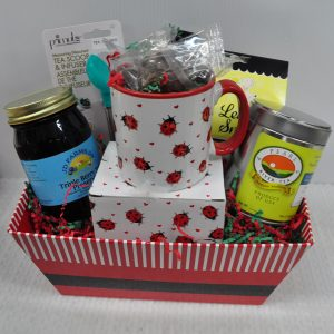 Red Striped Gift Basket